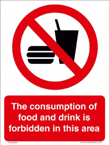 The consumption of food and drinks is forbidden in this area